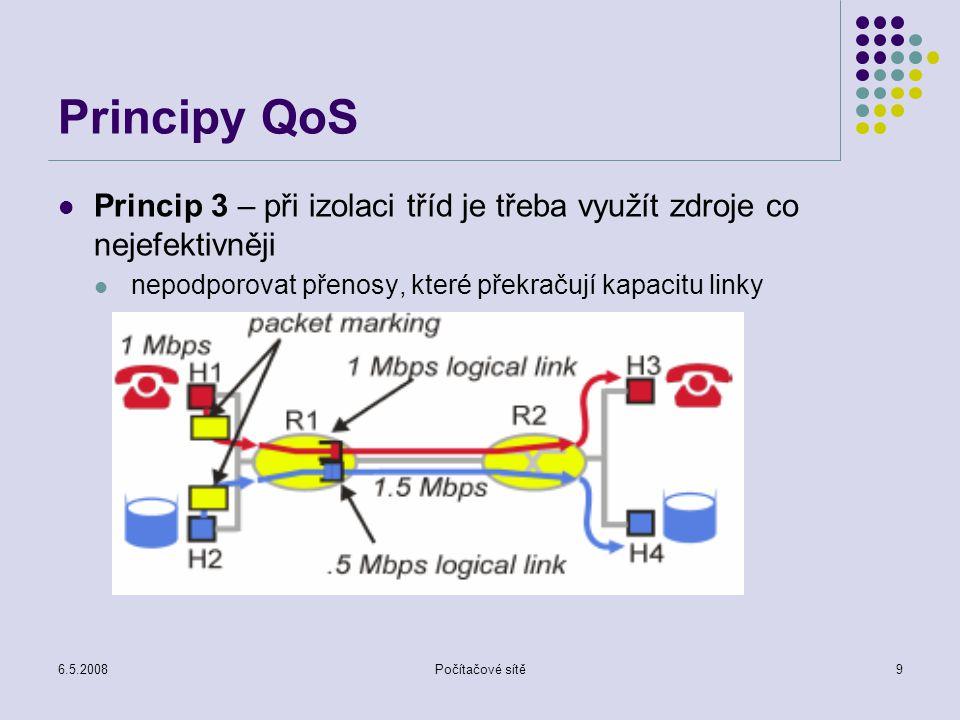 6.5.2008Počítačové sítě30 RSVP RSVP operace – proces vytváření a udržování rezervací v okamžiku, kdy zdroj dat začíná vysílat, posílá zprávu PATH musí pro každý přijímač RSVP vytvořit doručovací multicastový strom do všech vysílačů, aby se daly posílat rezervační zprávy RESV pokud směrovač přijme zprávu RESV, opraví si (pokud je to třeba) stavové tabulky s cestami a pošle zprávu dál pokud zprávu přijme příjemce, který chce vytvořit rezervaci pro tento zdroj, pošle zprávu RESV pokud směrovač přijme zprávu RESV, rezervuje příslušné zdroje a propaguje RESV dál Pokud RESV narazí na směrovač, ve kterém je již rezervace pro daný tok existuje, RESV se dál neposílá, tok dat se nasměruje na příjemce.