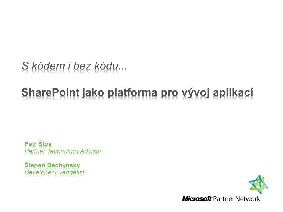 SharePoint – platforma Demo – SPD, InfoPath, BDC, připojení na webovou službu Shrnutí Případová studie, prezentace řešení partnera – Lundegaard SPS 2010 – novinky pro vývojáře