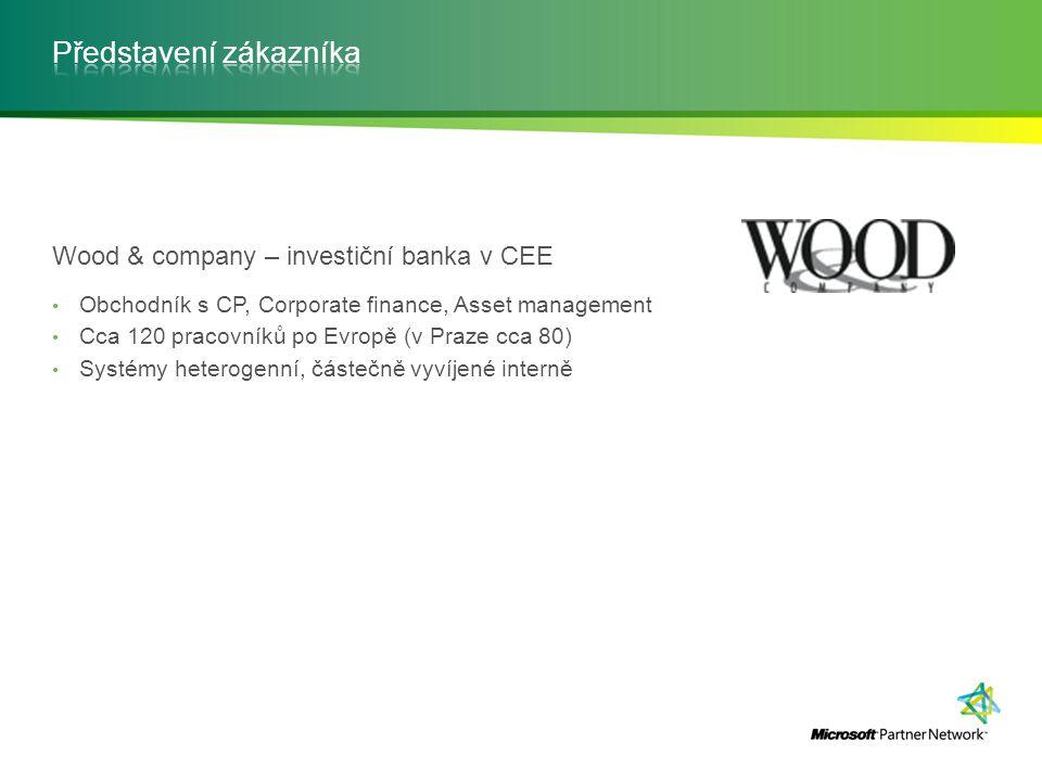 Wood & company – investiční banka v CEE Obchodník s CP, Corporate finance, Asset management Cca 120 pracovníků po Evropě (v Praze cca 80) Systémy hete