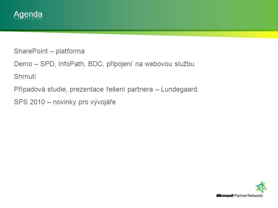 SharePoint – platforma Demo – SPD, InfoPath, BDC, připojení na webovou službu Shrnutí Případová studie, prezentace řešení partnera – Lundegaard SPS 20
