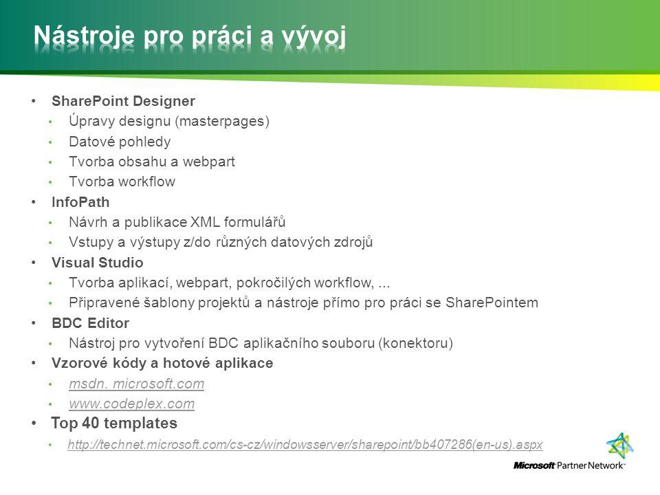 SharePoint Designer Úpravy designu (masterpages) Datové pohledy Tvorba obsahu a webpart Tvorba workflow InfoPath Návrh a publikace XML formulářů Vstup