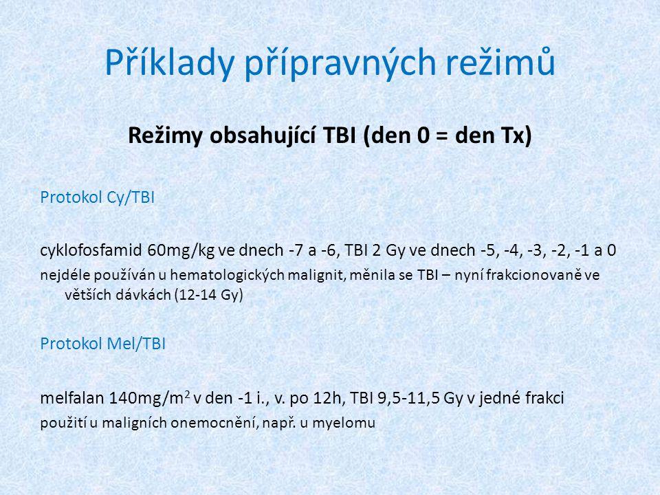 Příklady přípravných režimů Režimy obsahující TBI (den 0 = den Tx) Protokol Cy/TBI cyklofosfamid 60mg/kg ve dnech -7 a -6, TBI 2 Gy ve dnech -5, -4, -3, -2, -1 a 0 nejdéle používán u hematologických malignit, měnila se TBI – nyní frakcionovaně ve větších dávkách (12-14 Gy) Protokol Mel/TBI melfalan 140mg/m 2 v den -1 i., v.
