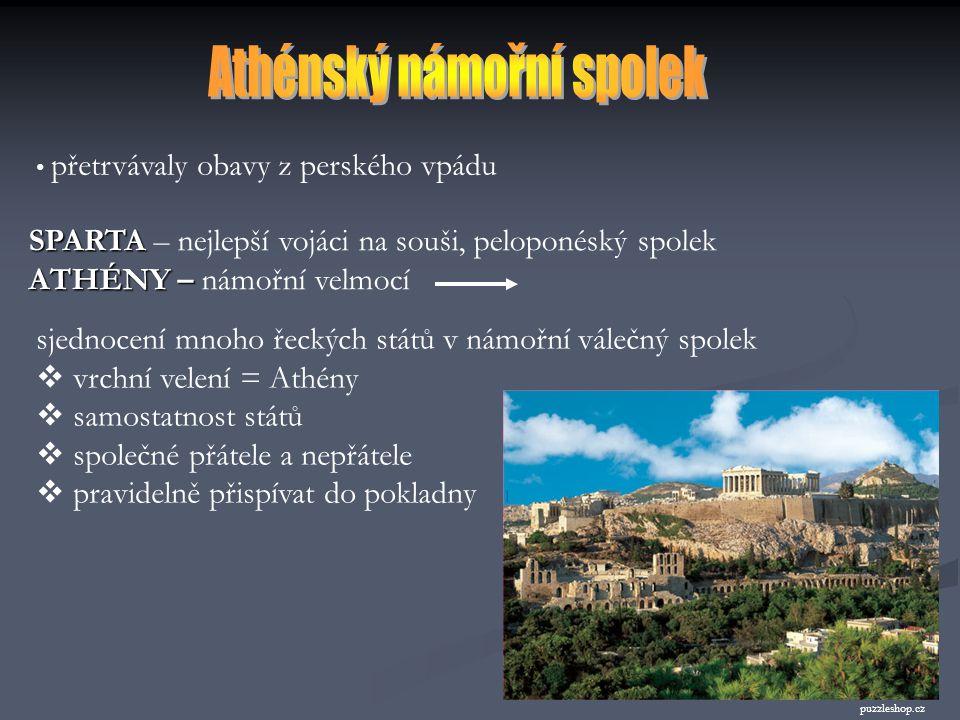 OBSAH: 1) Athénský námořní spolek 2) Athény po řecko-perských válkách (Perikles) 3) Stavební rozvoj Athén 4) Kulturní středisko východního Středomoří