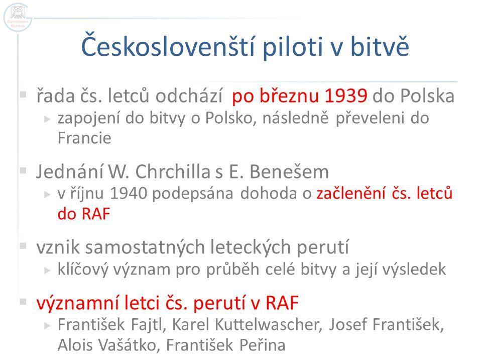 Českoslovenští piloti v bitvě  řada čs.