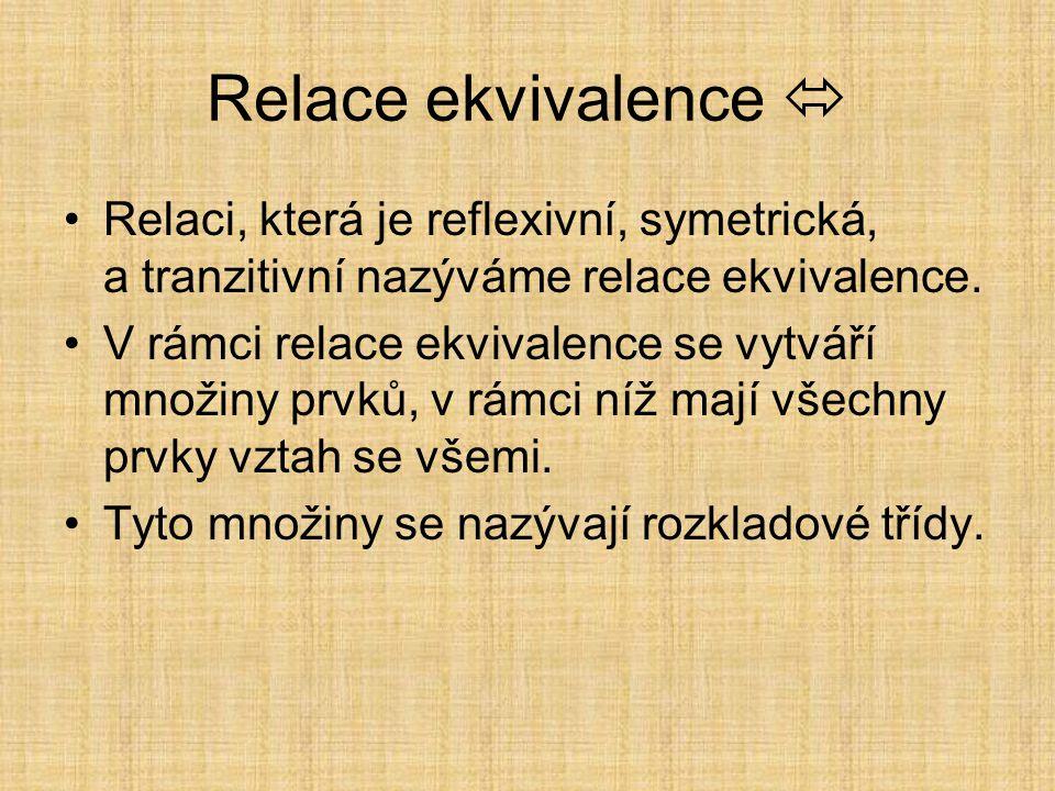 Antireflexivní Nebýt ve vztahu sám se sebou. Relace je antireflexivní, pokud pro žádné x neplatí (x R x). Příkladem je uspořádání.