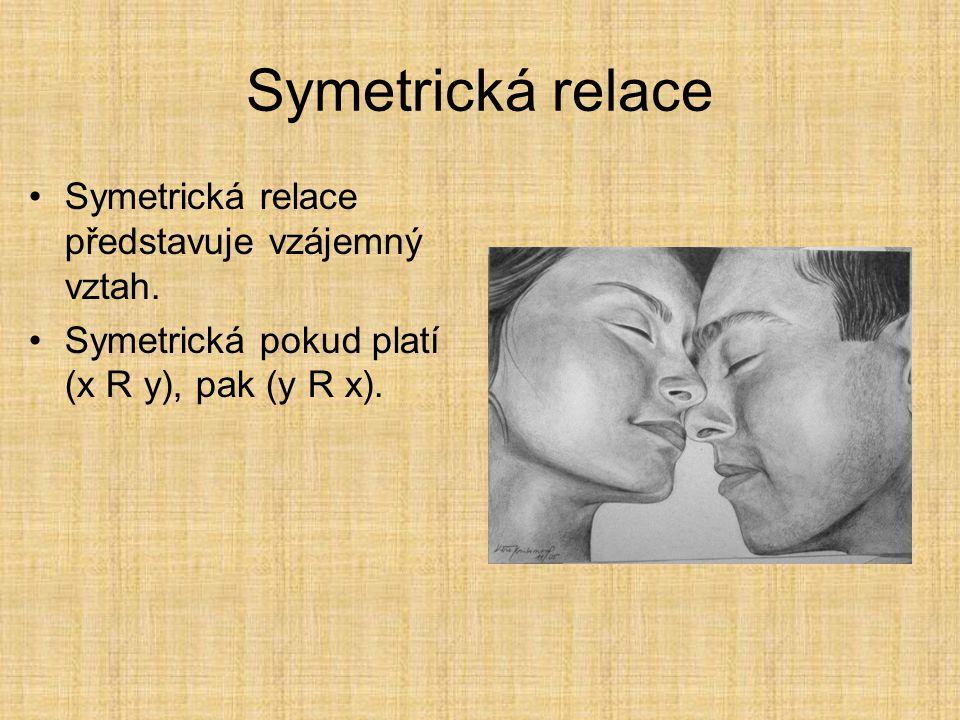 Vlastnosti binární relace na množině Symetrická Tranzitivní Reflexivní Další relace mohou být odvozeny z těchto: Antisymetrická Antireflexivní