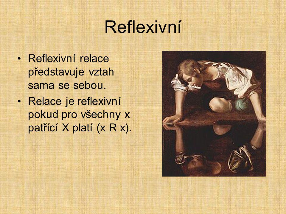 Tranzitivní relace Tranzitivní relace představuje přenos vztahu. Relace je tranzitivní pokud z (x R y) a současně (y R z), vyplývá (xRz). Příkladem je