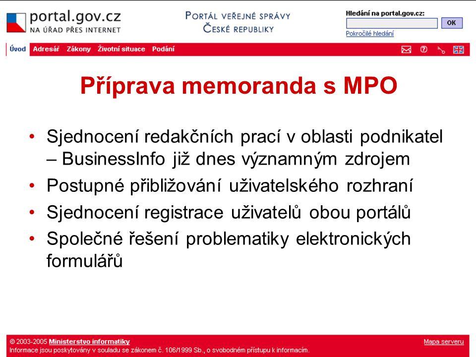 Příprava memoranda s MPO Sjednocení redakčních prací v oblasti podnikatel – BusinessInfo již dnes významným zdrojem Postupné přibližování uživatelskéh
