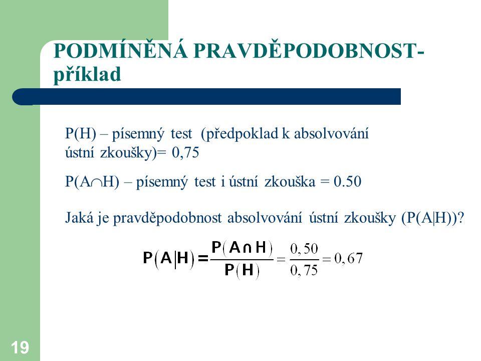 19 PODMÍNĚNÁ PRAVDĚPODOBNOST- příklad P(H) – písemný test (předpoklad k absolvování ústní zkoušky)= 0,75 P(A  H) – písemný test i ústní zkouška = 0.50 Jaká je pravděpodobnost absolvování ústní zkoušky (P(A|H))?
