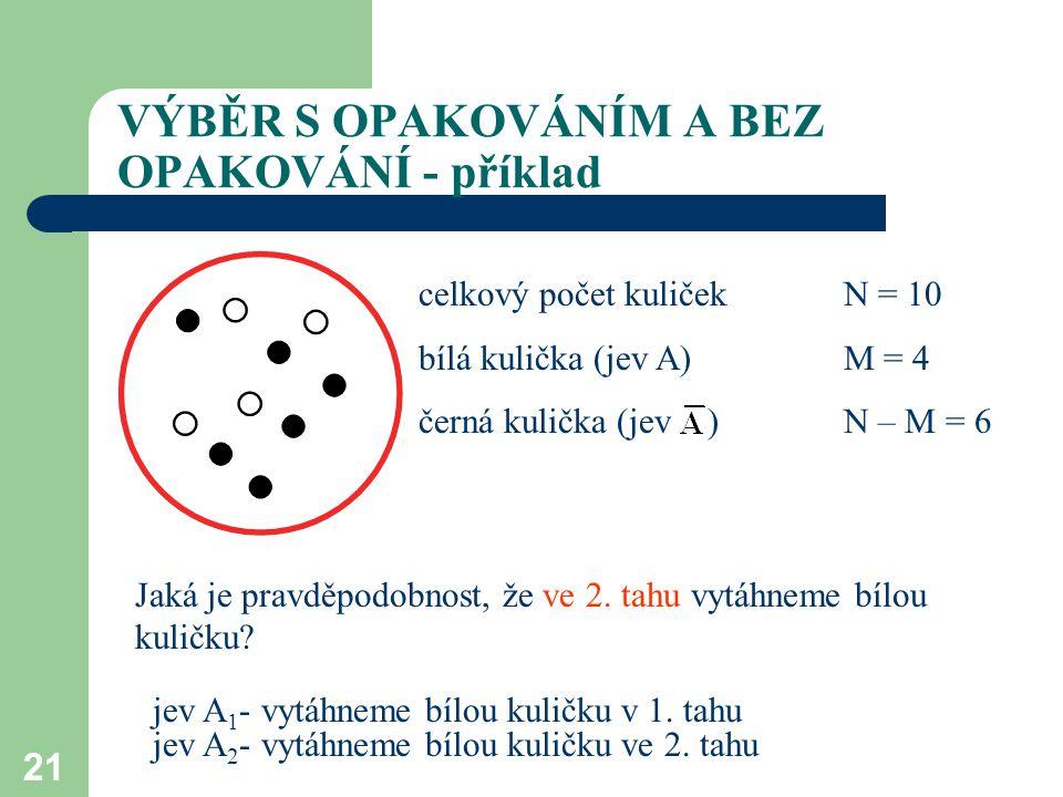 21 celkový počet kuliček N = 10 bílá kulička (jev A)M = 4 černá kulička (jev )N – M = 6 VÝBĚR S OPAKOVÁNÍM A BEZ OPAKOVÁNÍ - příklad Jaká je pravděpodobnost, že ve 2.