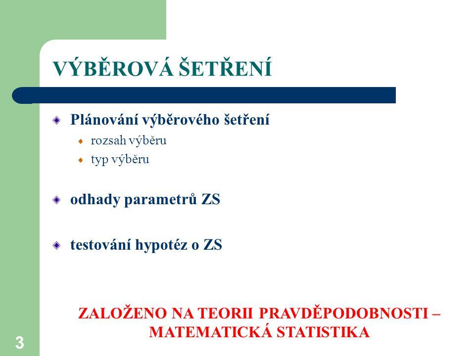 3 VÝBĚROVÁ ŠETŘENÍ Plánování výběrového šetření rozsah výběru typ výběru odhady parametrů ZS testování hypotéz o ZS ZALOŽENO NA TEORII PRAVDĚPODOBNOSTI – MATEMATICKÁ STATISTIKA