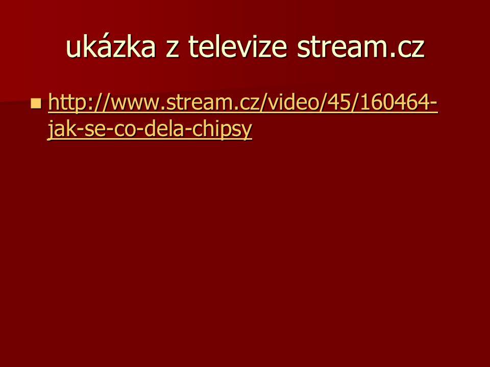 ukázka z televize stream.cz http://www.stream.cz/video/45/160464- jak-se-co-dela-chipsy http://www.stream.cz/video/45/160464- jak-se-co-dela-chipsy ht