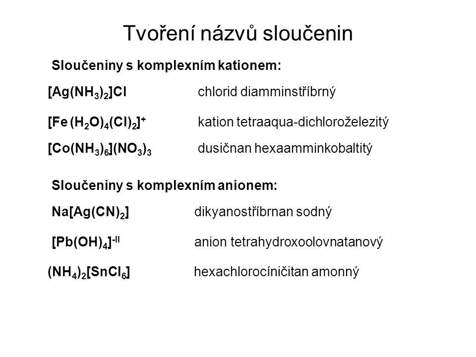 Tvoření názvů sloučenin Sloučeniny s komplexním kationem: Sloučeniny s komplexním anionem: [Ag(NH 3 ) 2 ]Cl chlorid diamminstříbrný [Fe (H 2 O) 4 (Cl) 2 ] + kation tetraaqua-dichloroželezitý [Co(NH 3 ) 6 ](NO 3 ) 3 dusičnan hexaamminkobaltitý Na[Ag(CN) 2 ] dikyanostříbrnan sodný [Pb(OH) 4 ] -II anion tetrahydroxoolovnatanový (NH 4 ) 2 [SnCl 6 ] hexachlorocíničitan amonný