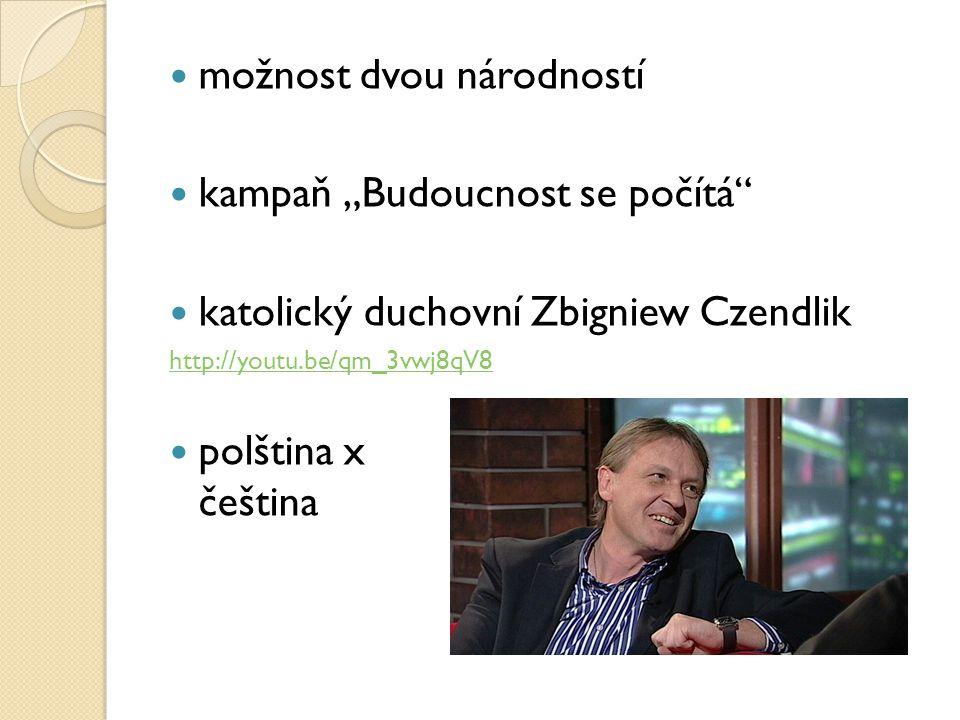 """možnost dvou národností kampaň """"Budoucnost se počítá"""" katolický duchovní Zbigniew Czendlik http://youtu.be/qm_3vwj8qV8 polština x čeština"""