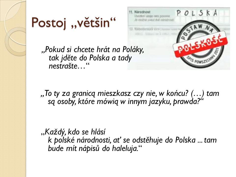 """Postoj """"většin"""" """"Pokud si chcete hrát na Poláky, tak jděte do Polska a tady nestrašte…"""" """"To ty za granicą mieszkasz czy nie, w końcu? (…) tam są osoby"""
