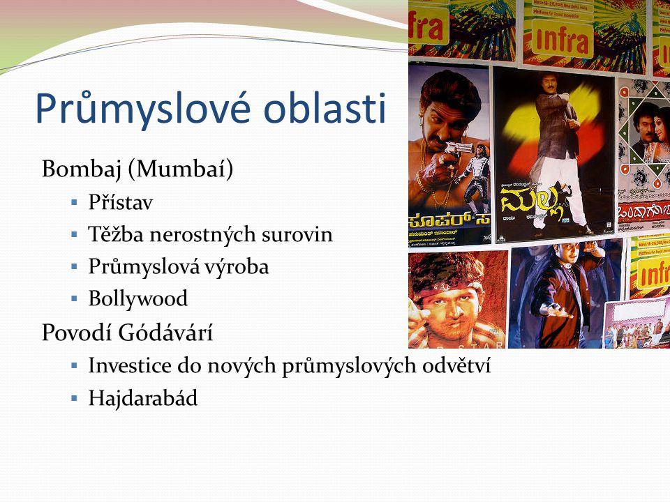 Průmyslové oblasti Bombaj (Mumbaí)  Přístav  Těžba nerostných surovin  Průmyslová výroba  Bollywood Povodí Gódávárí  Investice do nových průmyslo