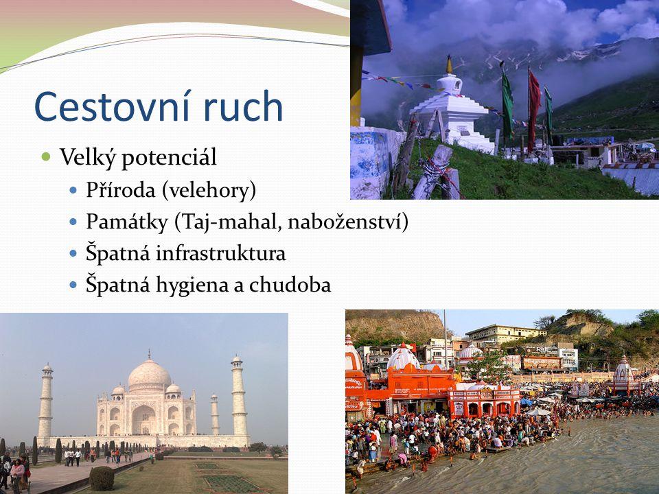 Cestovní ruch Velký potenciál Příroda (velehory) Památky (Taj-mahal, naboženství) Špatná infrastruktura Špatná hygiena a chudoba