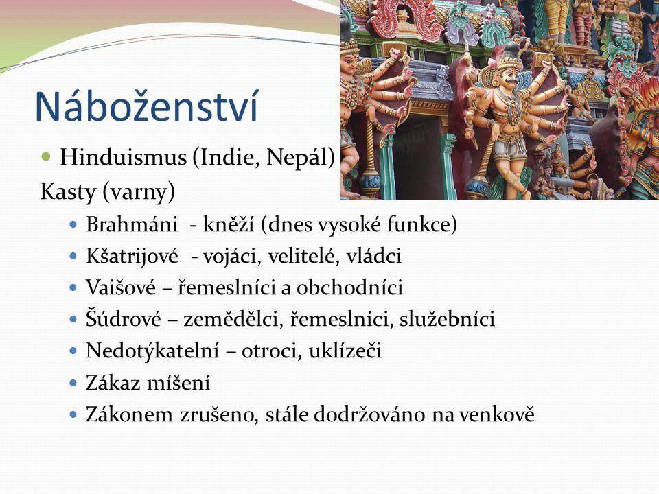 Náboženství Hinduismus (Indie, Nepál) Kasty (varny) Brahmáni - kněží (dnes vysoké funkce) Kšatrijové - vojáci, velitelé, vládci Vaišové – řemeslníci a