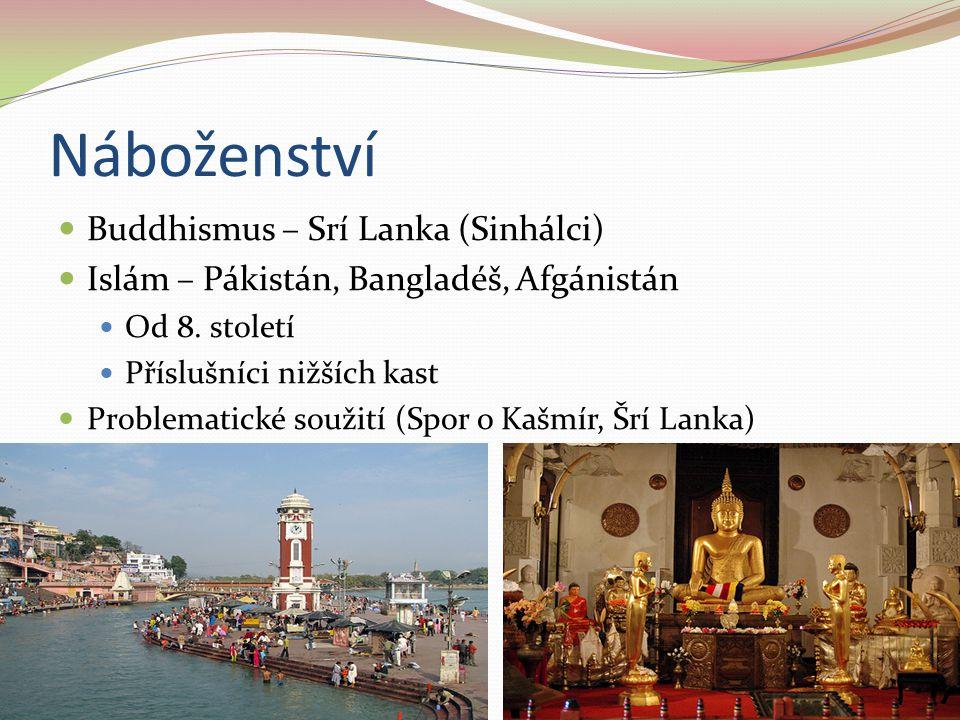 Náboženství Buddhismus – Srí Lanka (Sinhálci) Islám – Pákistán, Bangladéš, Afgánistán Od 8. století Příslušníci nižších kast Problematické soužití (Sp
