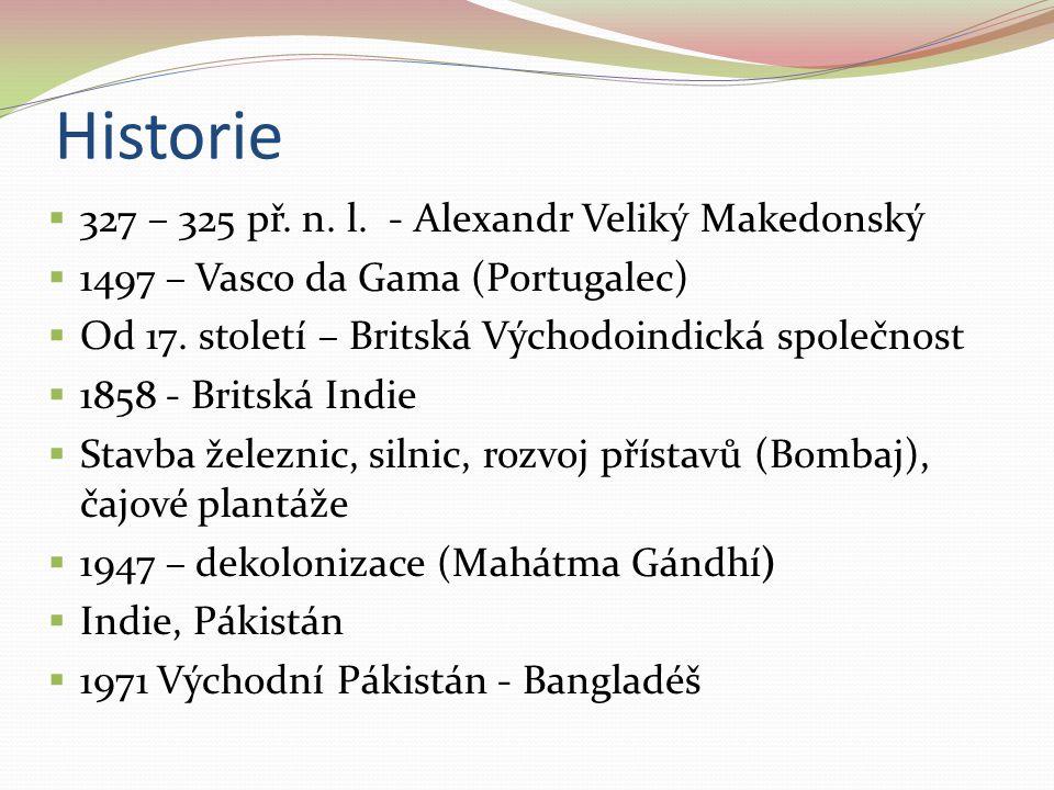 Historie  327 – 325 př. n. l. - Alexandr Veliký Makedonský  1497 – Vasco da Gama (Portugalec)  Od 17. století – Britská Východoindická společnost 