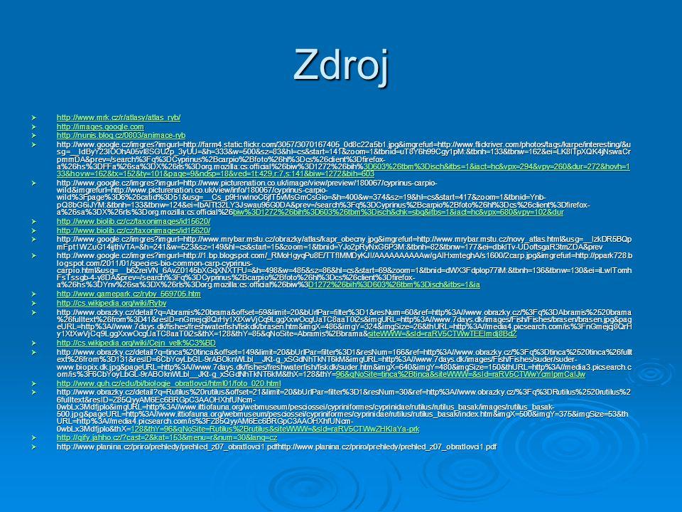 Zdroj  http://www.obrazky.cz/detail?q=clupea harengus&offset=73&limit=20&bUrlPar=filter%3D1&resNum=88&ref=http%3A//www.obrazky.cz/%3Fq%3Dclupea%2520harengus%26fulltext%26from%3D55&resID=ztH wOP1gc8Pdoyi_UoVe_fZugQVwfT1NXSNox8n5lKQ&imgURL=http%3A//www.7days.dk/images/Fish/Fishes/sild/sild2.jpg&pa  http://mizanek.blog.cz/0802/sled-obecny http://mizanek.blog.cz/0802/sled-obecny  http://www.obrazky.cz/detail?q=Scomber scombrus&offset=73&limit=20&bUrlPar=filter%3D1&resNum=90&ref=http%3A//www.obrazky.cz/%3Fq%3DScomber%2520scombrus%26fulltext&resID=SCZiDEzUMKFF8 5AKRTc4Y9wUyLc_2HjtjsSVSul4nNU&imgURL=http%3A//www.albanesi.it/Alimentazione/cibi/Imma/sgombro.jpg&pageURL=http%3A//www.albanesi.it/Alimentazione/cibi/ sgombro.htm&imgX=240&imgY=175&imgSize=34&thURL=http%3A//media2.picsearch.com/is%3FSCZiDEzUMKFF85AKRTc4Y9  http://sirmi.ic.cz/ryba4.html http://sirmi.ic.cz/ryba4.html  http://www.google.cz/imgres?imgurl=http://www.biolib.cz/IMG/GAL/BIG/144562.jpg&imgrefurl=http://www.biolib.cz/ cz/taxonimage/id144562/%3Ftaxonid%3D125284&usg=__Es1mhdT5_KCmKJU1z4lM8ru5jC4=&h=2736&w=3648 &sz=2540&hl=cs&start=95&zoom=1&tbnid=bkns3MFHqe_rPM:&tbnh=106&tbnw=158&ei=B0MlTu3jGsv1sgbLkrCt CQ&prev=/search%3Fq%3DGadus%2Bmorh  http://www.google.cz/imgres?imgurl=http://nautic-seafood.com/cm-webpic/gadus_morhua_sw.jpg&imgrefurl=http://nautic-seafood.com/cm58/&usg=__MhoWlPpP- Edu5knKcUHOkkjdDss=&h=276&w=680&sz=26&hl=cs&start=0&zoom=1&tbnid=hAy5Z2uHq4f8aM:&tbnh=78&tbnw=192&ei=B0MlTu3jGsv1sgbLkrCtCQ&prev=/search%3 Fq%3DGadus%2Bmorhua%2Bfoto%26hl%3Dcs%26client%3Dfirefox- a%26hs%3Dgn6%26sa%3DX%26rls%3Dorg.mozilla:cs:official%26biw%3D1280%26bih%3D611%26tbm%3Disch%26prmd%3Divns&itbs=1&iact=hc&vpx=344&vpy=97& dur=158&hovh=143&hovw=353&tx=147&ty=81&page=1&ndsp=22&ved=1t:429,r:1,s:0 itbs=1&iact=hc&vpx=344&vpy=97& dur=158&hovh=143&hovw=353&tx=147&ty=81&page=1&ndsp=22&ved=1t:429,r:1,s:0itbs=1&iact=hc&vpx=344&vpy=97& dur=158&hovh=143&hovw=353&tx=147&ty=81&page=1&ndsp=22&ved=1t:429,r:1,s:0  http://www.google.cz/i