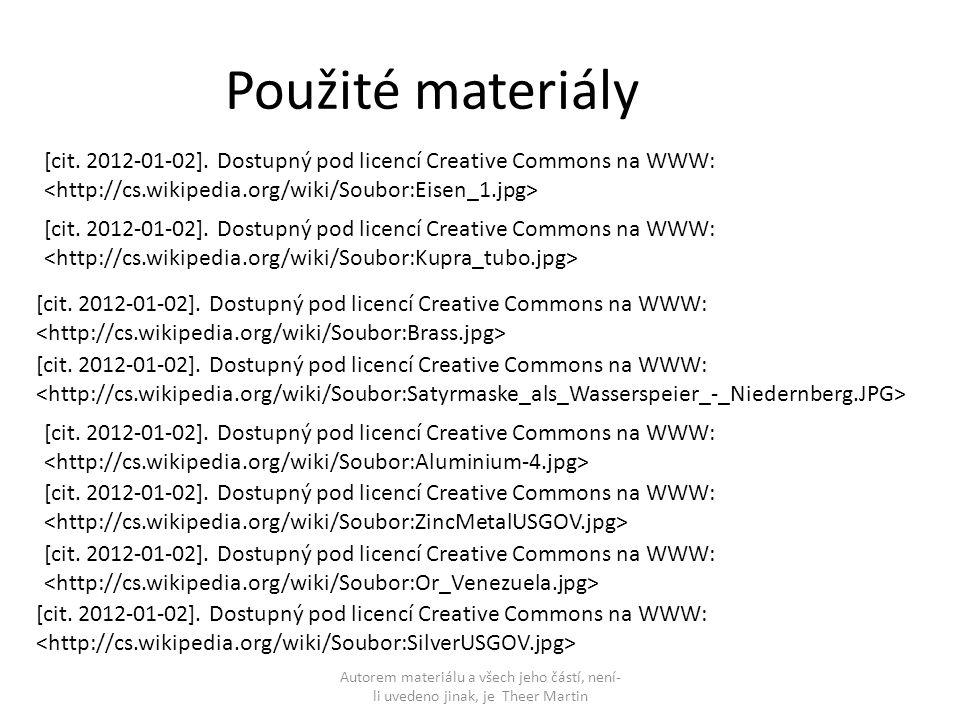Použité materiály [cit. 2012-01-02]. Dostupný pod licencí Creative Commons na WWW: