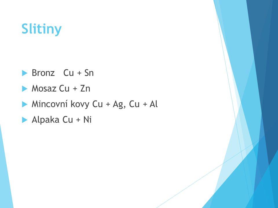 Slitiny  Bronz Cu + Sn  Mosaz Cu + Zn  Mincovní kovy Cu + Ag, Cu + Al  Alpaka Cu + Ni