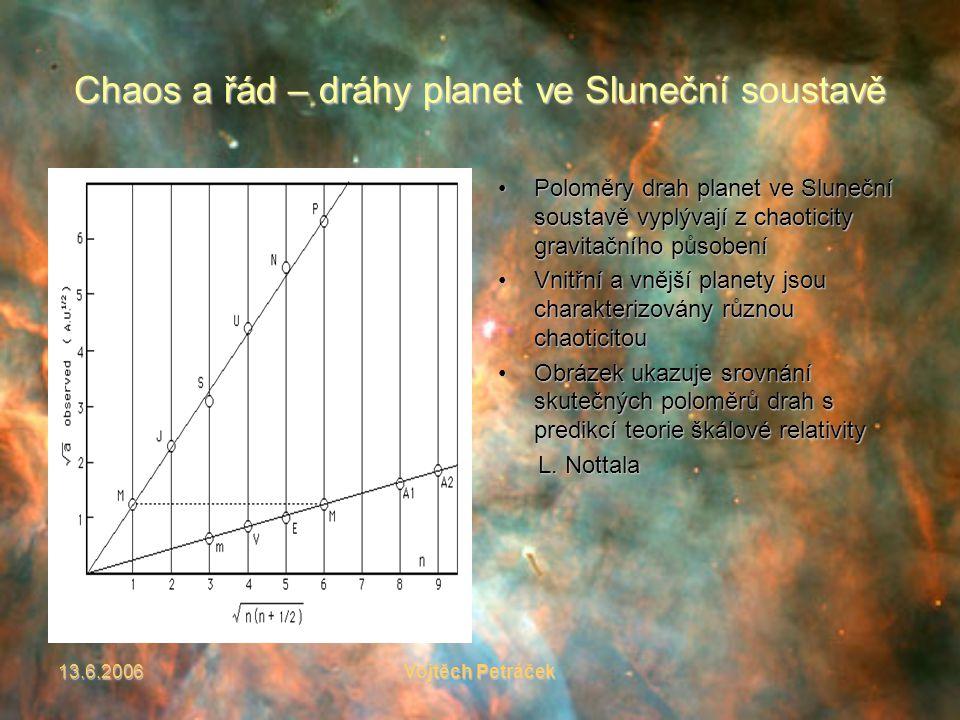 13.6.2006Vojtěch Petráček Chaos a řád – dráhy planet ve Sluneční soustavě Poloměry drah planet ve Sluneční soustavě vyplývají z chaoticity gravitačního působeníPoloměry drah planet ve Sluneční soustavě vyplývají z chaoticity gravitačního působení Vnitřní a vnější planety jsou charakterizovány různou chaoticitouVnitřní a vnější planety jsou charakterizovány různou chaoticitou Obrázek ukazuje srovnání skutečných poloměrů drah s predikcí teorie škálové relativityObrázek ukazuje srovnání skutečných poloměrů drah s predikcí teorie škálové relativity L.