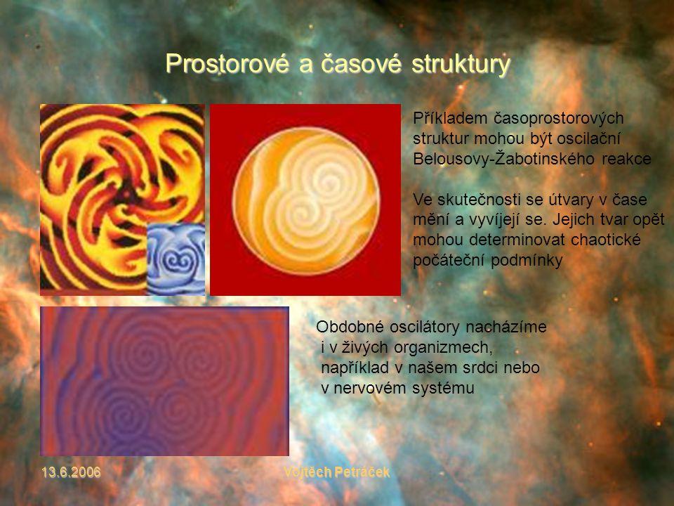 13.6.2006Vojtěch Petráček Prostorové a časové struktury Příkladem časoprostorových struktur mohou být oscilační Belousovy-Žabotinského reakce Ve skutečnosti se útvary v čase mění a vyvíjejí se.