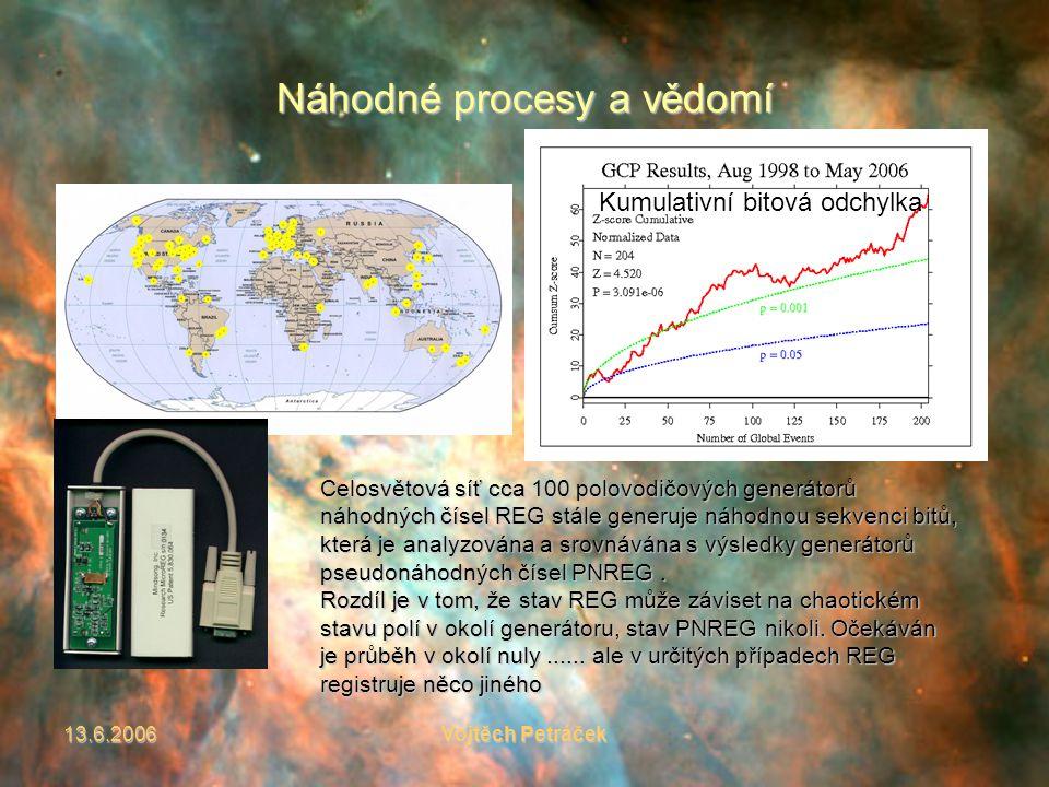 13.6.2006Vojtěch Petráček Náhodné procesy a vědomí Celosvětová síť cca 100 polovodičových generátorů náhodných čísel REG stále generuje náhodnou sekvenci bitů, která je analyzována a srovnávána s výsledky generátorů pseudonáhodných čísel PNREG.
