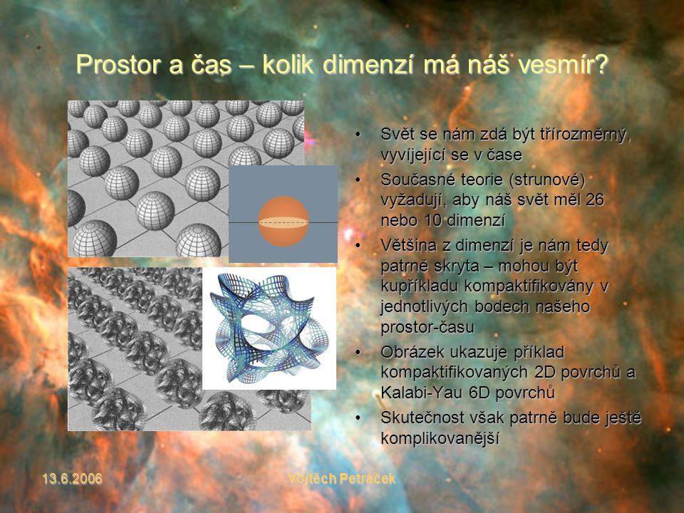 13.6.2006Vojtěch Petráček Prostor a čas – kolik dimenzí má náš vesmír.