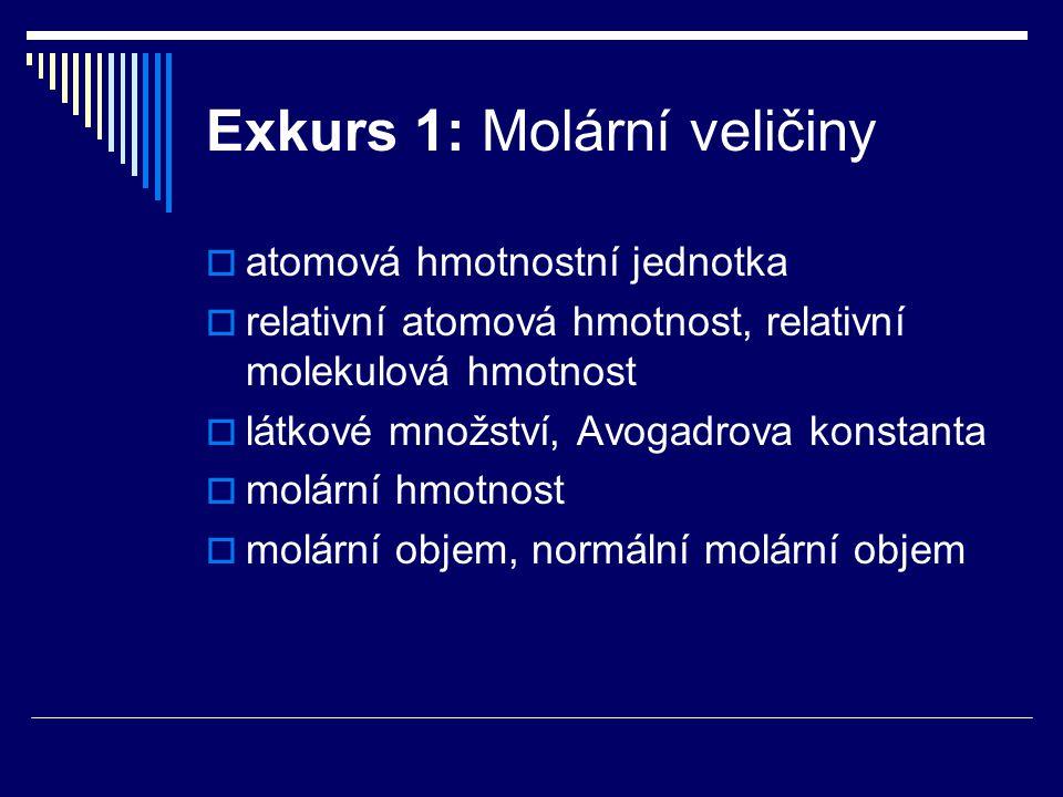 Exkurs 1: Molární veličiny  atomová hmotnostní jednotka  relativní atomová hmotnost, relativní molekulová hmotnost  látkové množství, Avogadrova ko