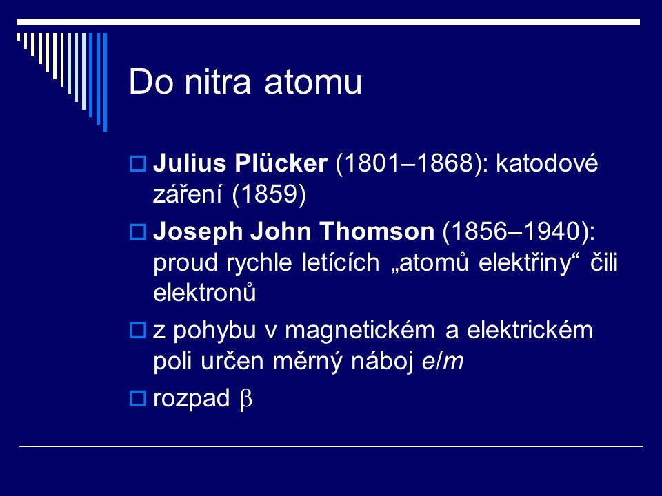 """Do nitra atomu  Julius Plücker (1801–1868): katodové záření (1859)  Joseph John Thomson (1856–1940): proud rychle letících """"atomů elektřiny"""" čili el"""