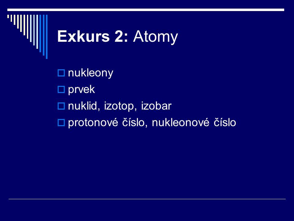 Exkurs 2: Atomy  nukleony  prvek  nuklid, izotop, izobar  protonové číslo, nukleonové číslo