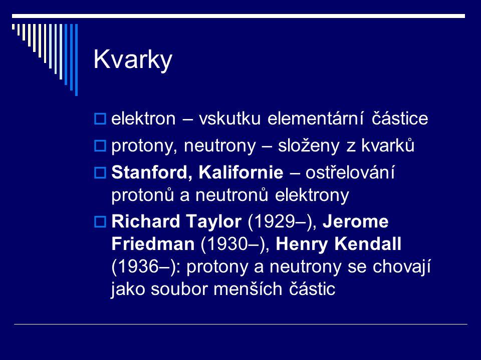 Kvarky  elektron – vskutku elementární částice  protony, neutrony – složeny z kvarků  Stanford, Kalifornie – ostřelování protonů a neutronů elektro