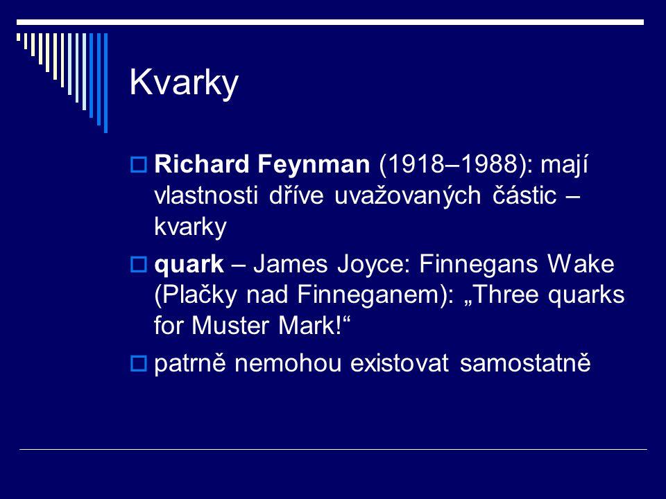 Kvarky  Richard Feynman (1918–1988): mají vlastnosti dříve uvažovaných částic – kvarky  quark – James Joyce: Finnegans Wake (Plačky nad Finneganem):