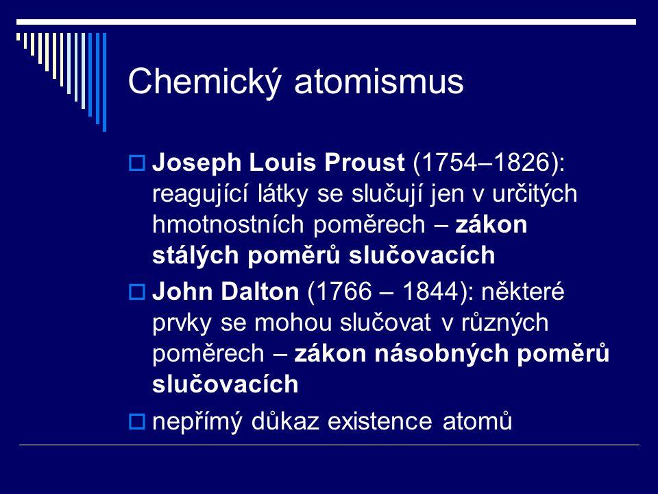 Chemický atomismus  Joseph Louis Proust (1754–1826): reagující látky se slučují jen v určitých hmotnostních poměrech – zákon stálých poměrů slučovací