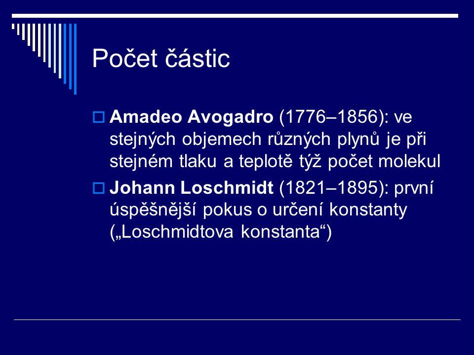 Počet částic  Amadeo Avogadro (1776–1856): ve stejných objemech různých plynů je při stejném tlaku a teplotě týž počet molekul  Johann Loschmidt (18