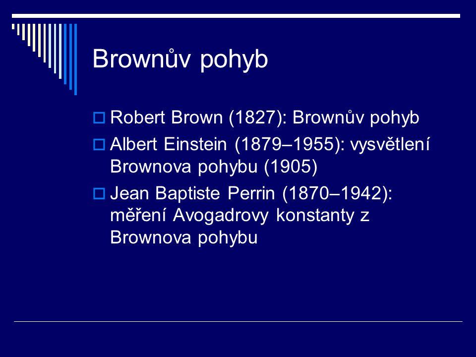 Brownův pohyb  Robert Brown (1827): Brownův pohyb  Albert Einstein (1879–1955): vysvětlení Brownova pohybu (1905)  Jean Baptiste Perrin (1870–1942)
