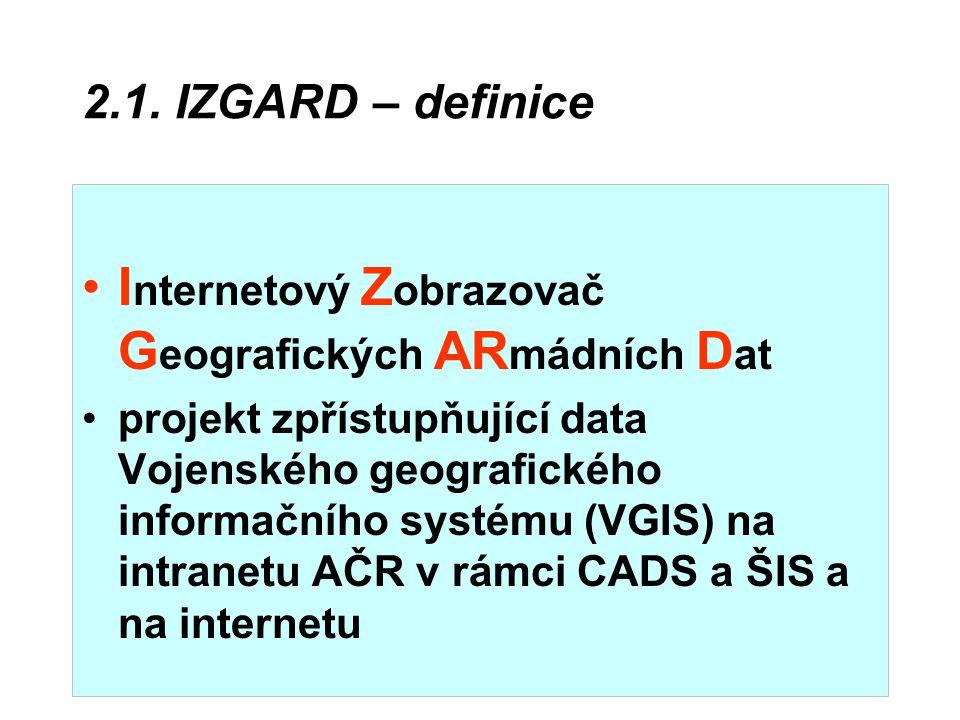 2.1. IZGARD – definice I nternetový Z obrazovač G eografických AR mádních D at projekt zpřístupňující data Vojenského geografického informačního systé