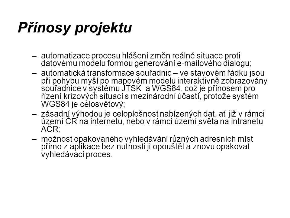 Přínosy projektu –automatizace procesu hlášení změn reálné situace proti datovému modelu formou generování e-mailového dialogu; –automatická transform