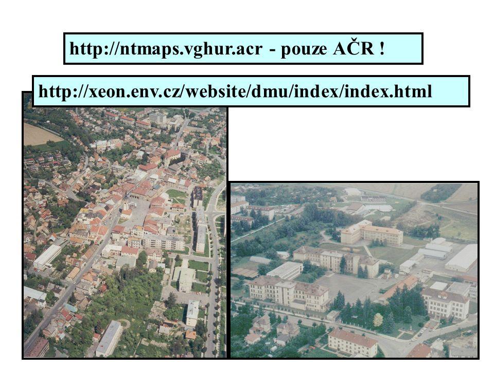http://ntmaps.vghur.acr - pouze AČR ! http://xeon.env.cz/website/dmu/index/index.html