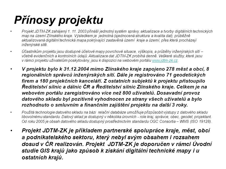 Projekt JDTM-ZK zahájený 1. 11. 2003 přináší jednotný systém správy, aktualizace a tvorby digitálních technických map na území Zlínského kraje. Výsled