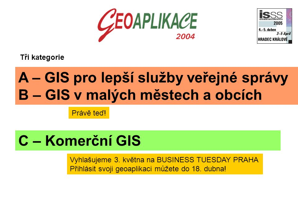 C – Komerční GIS A – GIS pro lepší služby veřejné správy B – GIS v malých městech a obcích Tři kategorie Vyhlašujeme 3. května na BUSINESS TUESDAY PRA