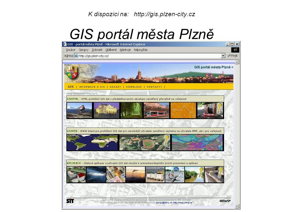 K dispozici na: http://gis.plzen-city.cz GIS portál města Plzně