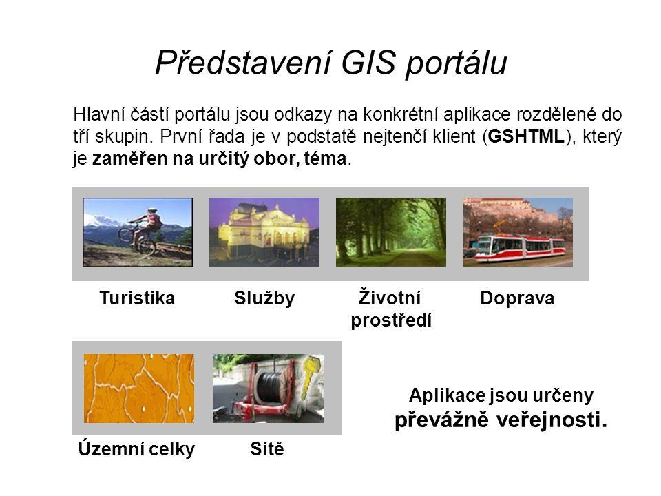 Představení GIS portálu Hlavní částí portálu jsou odkazy na konkrétní aplikace rozdělené do tří skupin. První řada je v podstatě nejtenčí klient (GSHT