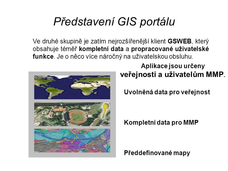 Představení GIS portálu Ve druhé skupině je zatím nejrozšířenější klient GSWEB, který obsahuje téměř kompletní data a propracované uživatelské funkce.