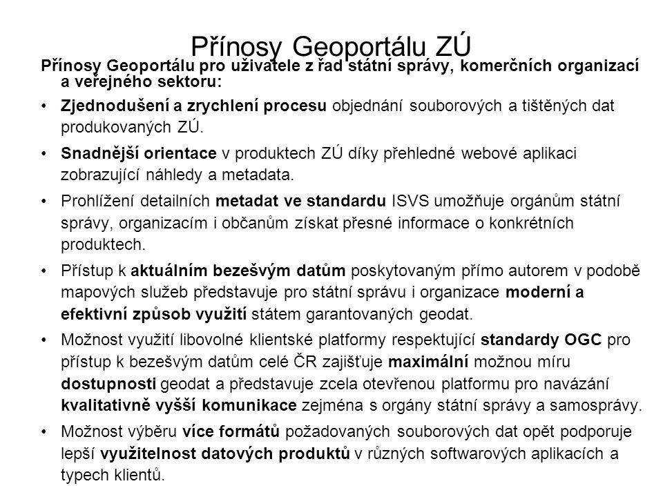 Přínosy Geoportálu ZÚ Přínosy Geoportálu pro uživatele z řad státní správy, komerčních organizací a veřejného sektoru: Zjednodušení a zrychlení proces