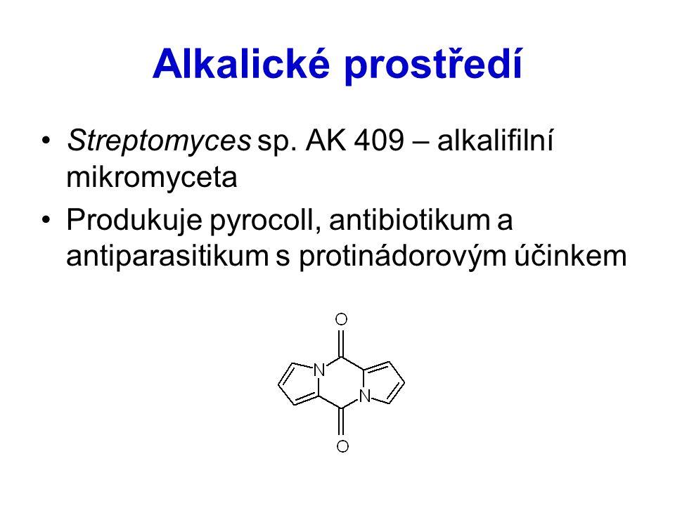 Alkalické prostředí Streptomyces sp. AK 409 – alkalifilní mikromyceta Produkuje pyrocoll, antibiotikum a antiparasitikum s protinádorovým účinkem