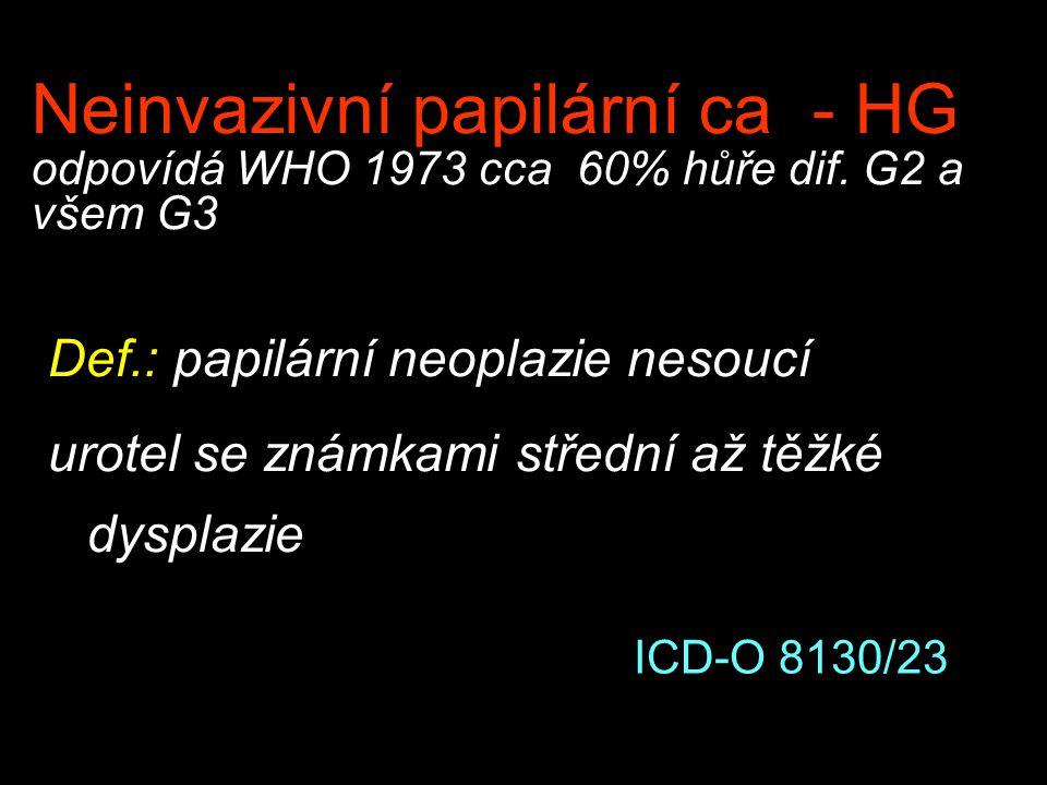 Neinvazivní papilární ca - HG odpovídá WHO 1973 cca 60% hůře dif. G2 a všem G3 Def.: papilární neoplazie nesoucí urotel se známkami střední až těžké d
